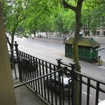 View out the french door. Love the little coffee shack for the taxi drivers.