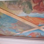 Part of the painted ceiling in the penthouse