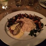 Grouper with Goat Cheese Risotto and Crispy Kale.