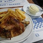 Chicken and chips with Alioi dip.