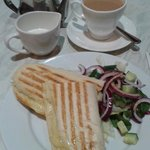 Cheese Panini and a pot of decaf tea