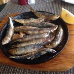 Number 13 on mains, pan fried Sardines in olive oil, garlic and rosemary.