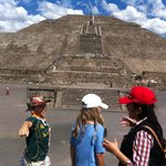 Itzel answering a million questions at Teotihuacan!