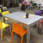 colourful seating in the courtyard