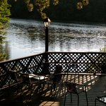 A deck overlooking Mirror Lake