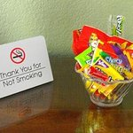 Bowl of complimentary candy