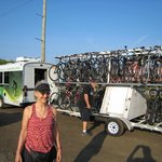 Bikes loaded on the shuttle