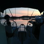 Pink skies from our boat at Barefoot Cay Marina