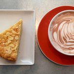 Almond cake and hot chocolate