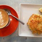 Cortado and bacon/cheese scone