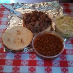 Pulled pork sandwich and sides at Bean's BBQ