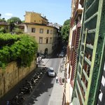 View down the Via Romana from the dining room of Giglio Bianco