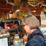 Anita checks out her favorite locally made sauerkraut at the Farmer's Market