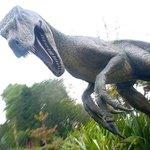 ウォータースライダーの途中で出現する恐竜。