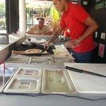 Our burritos being prepared fresh