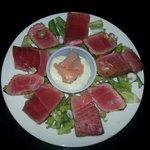 Ah I Tuna appetizer with a cream wasabi sauce
