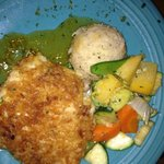 Onion Encrusted Grouper with mixed veggies and garlic mashed potatoes -YUM!