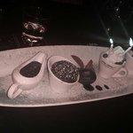 Wonderful anniversary surprise- chocolate suffle, ganache, ice cream, chocolate mousse- delish.