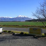 The view of Mt Hutt and surrounding mountains from the entrance to Ski Time