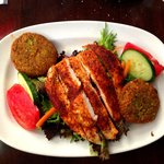 Pistachio crusted goat cheese salad with blackened chicken. YUM!
