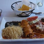 Combo Plate, cheese chili relleno and chicken enchilada