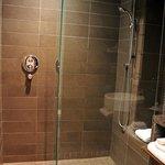 The bathroom was amazing with a rainfall showerhead!