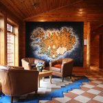 Lobby, with embroidered map of Iceland