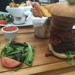 Mexican burger with steak chilli