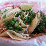 Tacos Mexicana: grilled talapia, shrimp, steak, braised beef and chipotle chicken