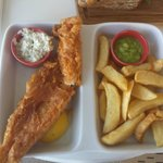 Haddock - looks good - but fillet too thin and more batter than fish. Mushy peas under-cooked