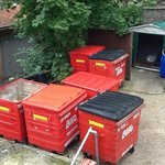 Biffa waste bins, view from open window