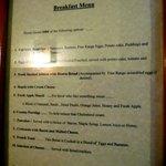 menu della colazione
