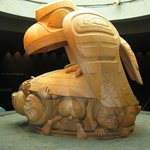 """In the Bill Reid Rotunda, """"The Raven and the First Men"""" sculpture"""