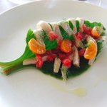 White fish pickle on Ice Plant with citrus and fennel.