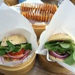 Salmon & bulgogi burgers and twisted potatoes