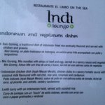 Part of the menu from Indi in El Limbo