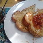Jam and soy butter toast