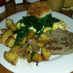 Blue Plate with turkey sausage and potatoes