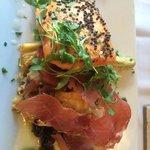 salmon with artichoke couscous and prosciutto