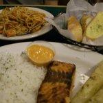 Tasty Spaghetti meal & Salmon meal & Bread Entrees