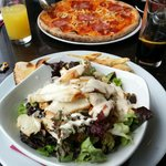 Chicken Ceaser Salad and Pepperoni Pizza