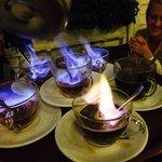 Amazing flambé of brandy and coffe
