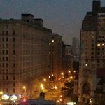view from my window at 5:50 am, looking toward the river along 79th St.