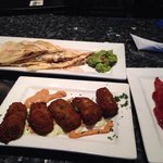 Duck breast quesadillas, asparagus fritters and a piece of the epic candied bacon!