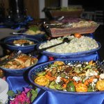 Cold side dish buffet at the Saturday grill by the beach