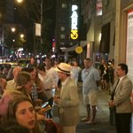Jefferson Mays greeting his fans right outside of the Walter Kerr Theatre after the show
