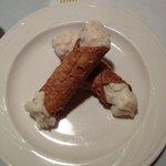 Dessert was Chocolate Chip Cannolis