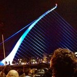 Tiger Fringe light and music show at the Samuel Beckett Bridge. Reason for my visit to Dublin.