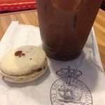 Iced mocha and maple bacon macaron