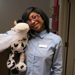 Friendly Reception staff member with my travelling companion